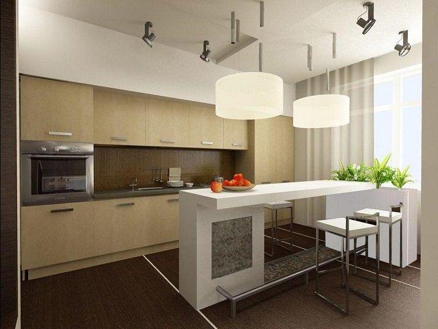 современный дизайн кухни с островом