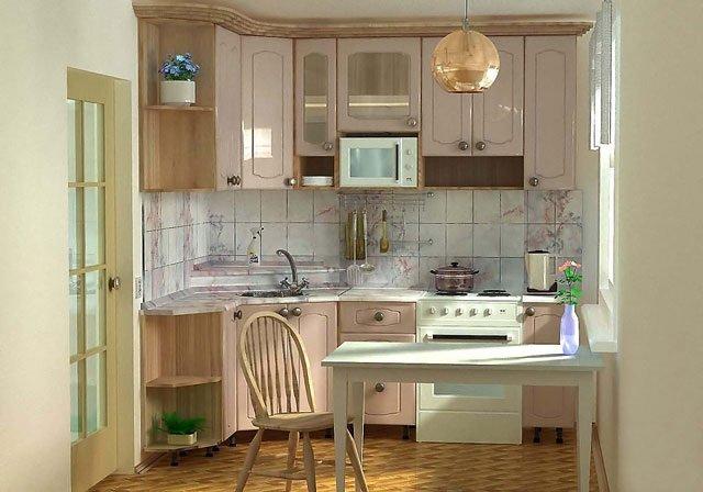 удобный дизайн кухни в хрущевке