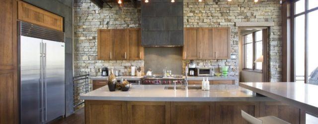 искусственный камень в интерьере кухниьной