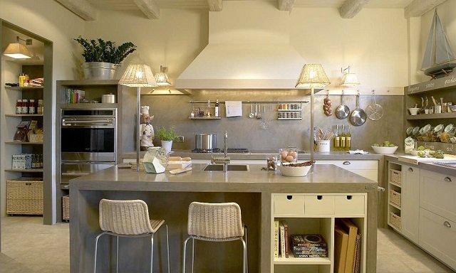 дизайн кухни без навесных шкафов