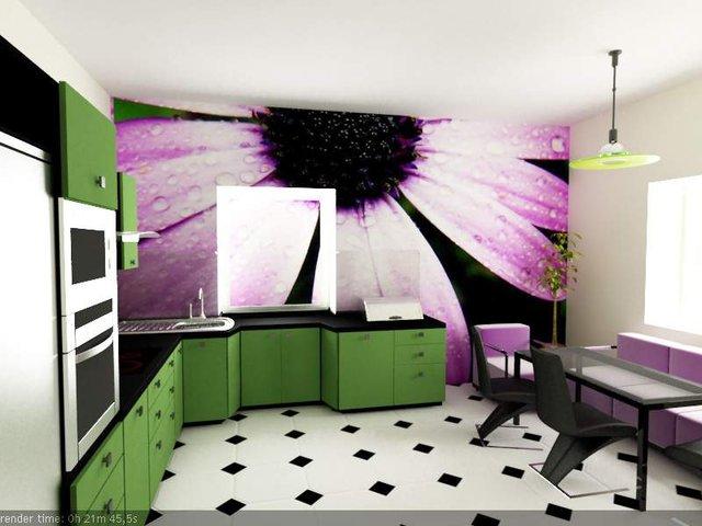 интерьер кухни с фотообоями