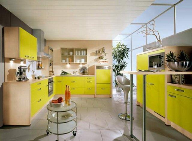 яркий желтый цвет в дизайне кухни