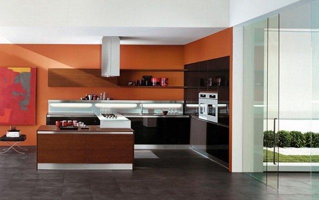 кухня в оранжевых оттенках для настроения
