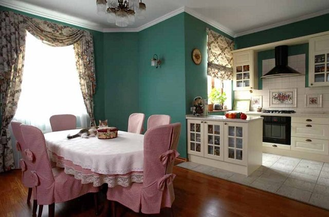 романтический дизайн кухни английского стиля