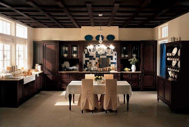 роскошный интерьер кухни в коричневом цвете