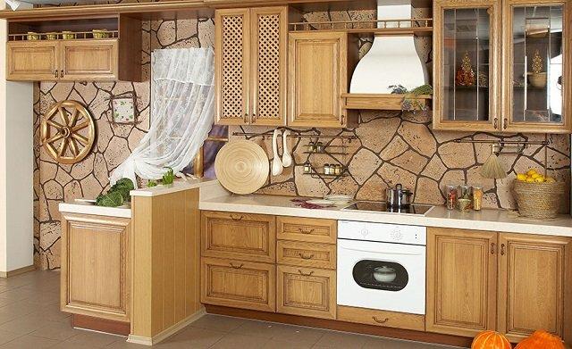 сочетание коричневых оттенков в дизайне кухни