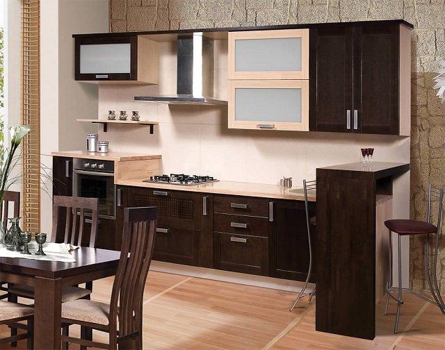 стильная кухня цвета венге