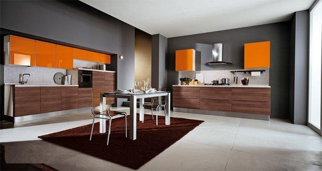 уникальный дизайн кухни в оранжевом цвете