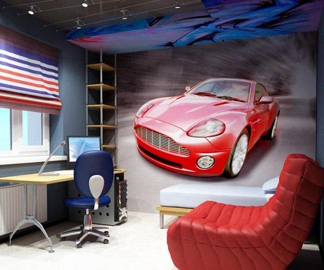 автомобильные фото обои в детской комнате