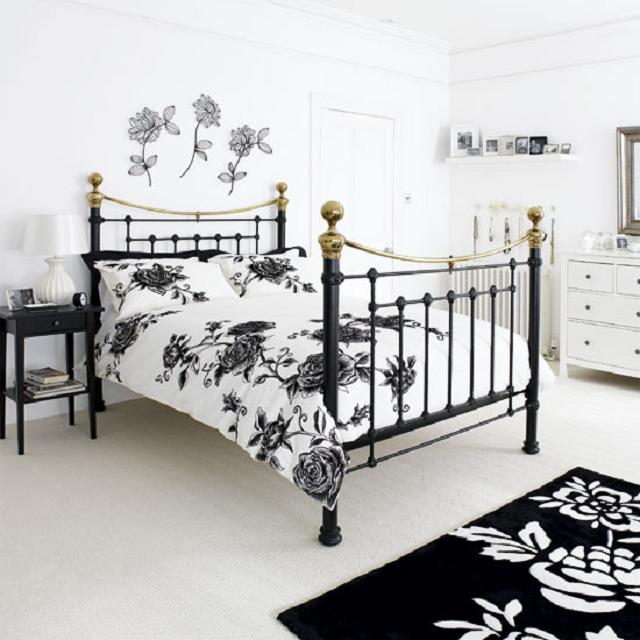 черно белые тона в дизайне спальни