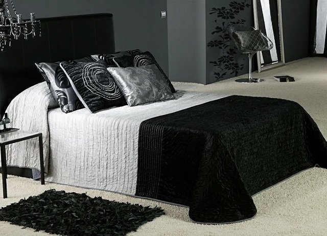 черно белый дизайн спальни