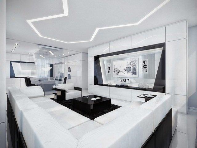 черно-белый стиль гостиной