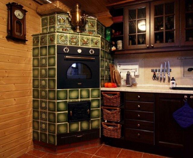 декоративный интерьер кухни с печкой
