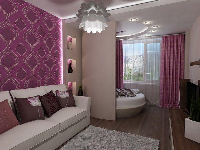 дизайн спальни совмещенной с гостиной - интересный вариант для небольшой квартиры