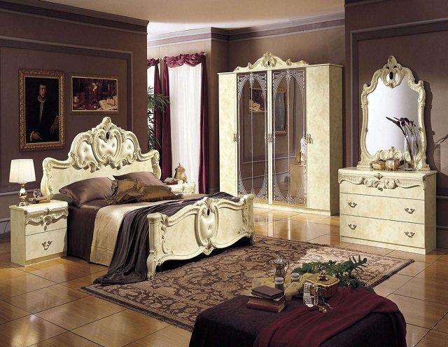дизайн спальни в стиле барокко - роскошь старины