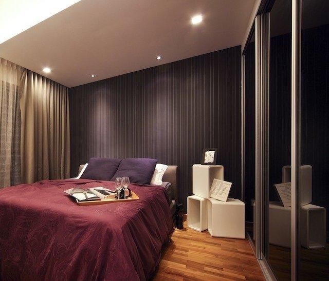 дизайн стильной спальни в темных тонах