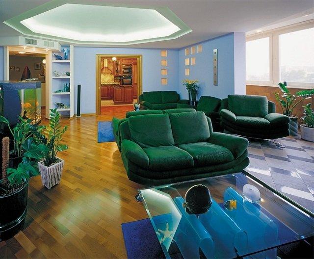гостиная с зеленым интерьером