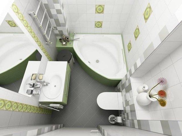 хорошиц вариант угловой ванны в интерьере для маленьких ванных комнат