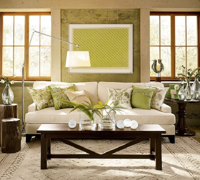 интерьер гостиной комнаты в зеленых тонах
