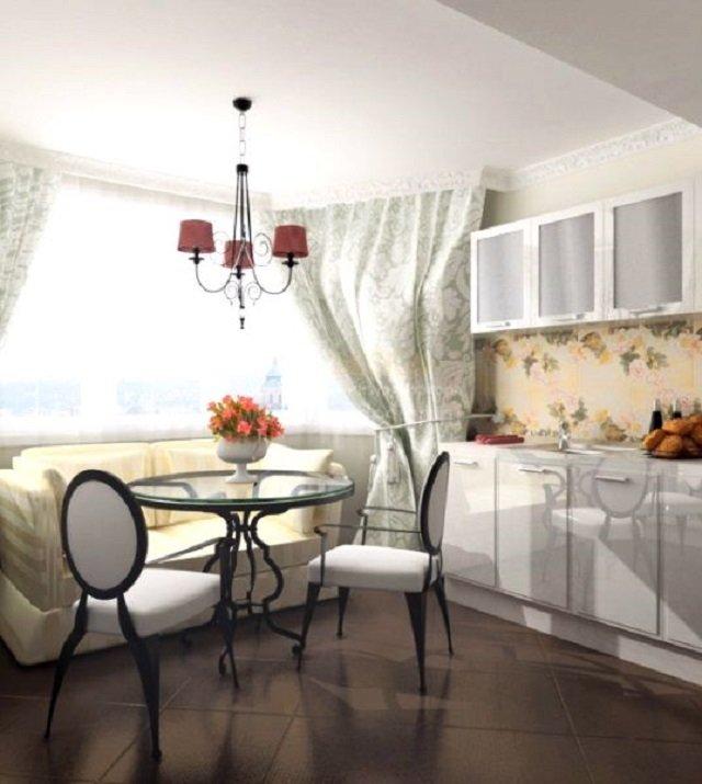 интерьер кухни с люстрой
