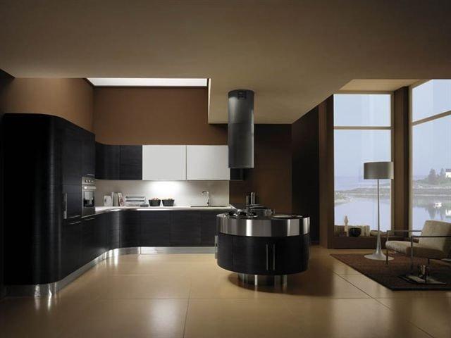 интерьер кухни с островом 21 века