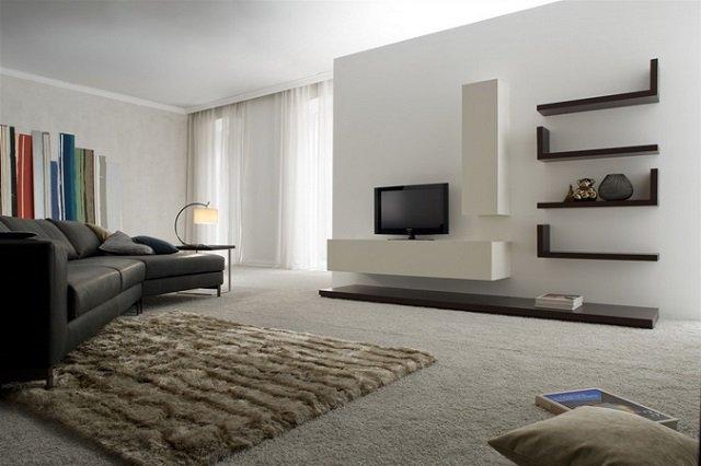 интересный интерьер гостиной в стиле минимализм