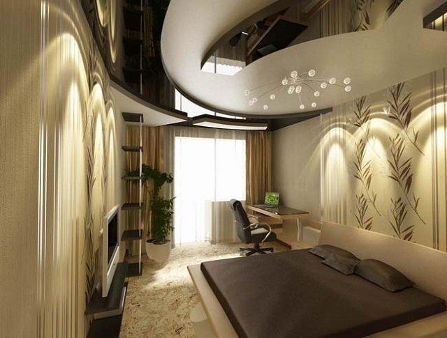 изисканный дизайн потолков для спальни