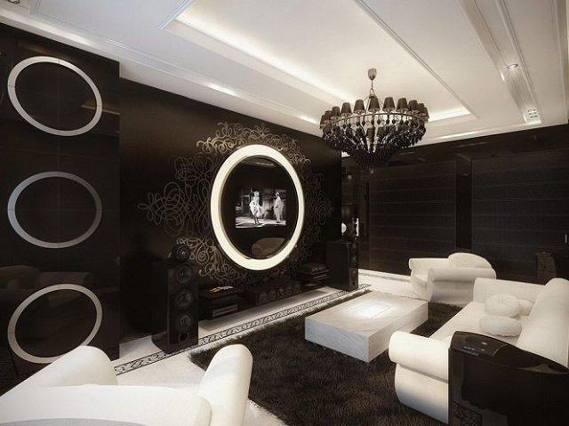 красивый интерьер в черно-белом стиле