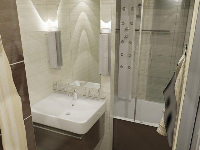 красивый интерьер ванной в панельном доме