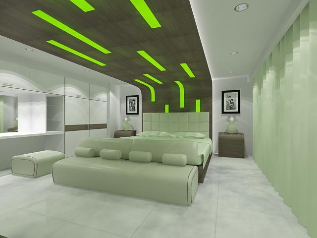 необычный дизайн зеленой спальни