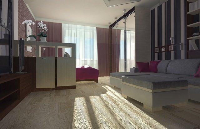 неплохой дизайн спальни совмещенной с гостиной