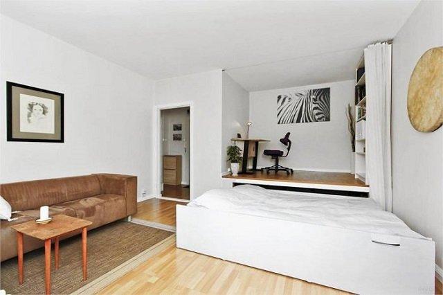 неплохой вариант гостиной в однокомнатной квартире
