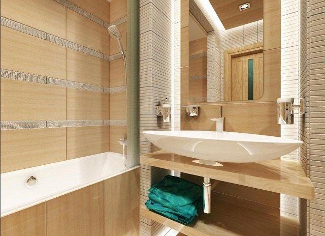неплохой дзайн типовой ванной комнаты