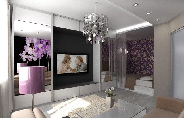 спальня совмещенная с гостиной для небольшой квартиры