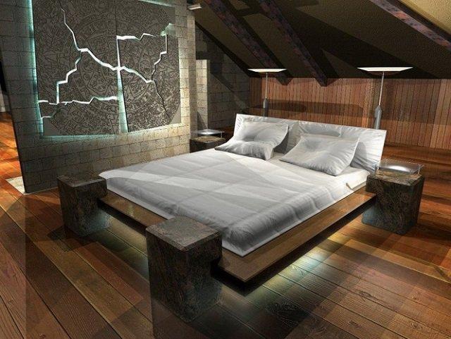 стиль мансардной спальни