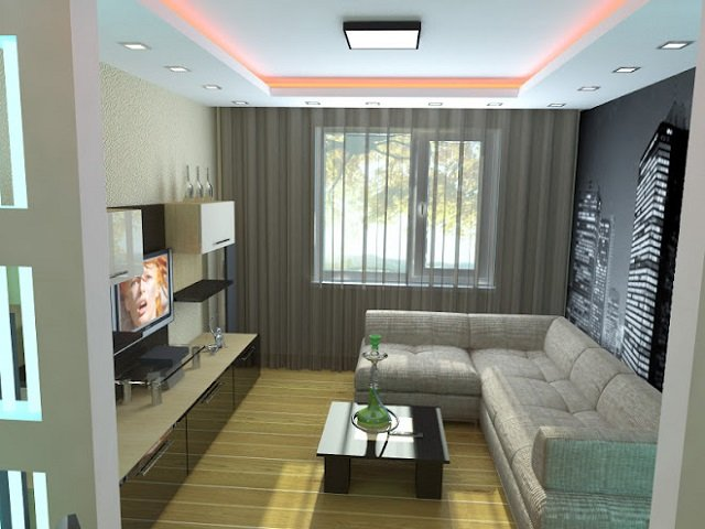 стиль минимализм в гостиных