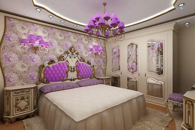 стиль барокко с розовыми оттенками в спальне