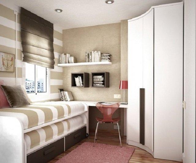 вариант дизайна очень маленькой спальни