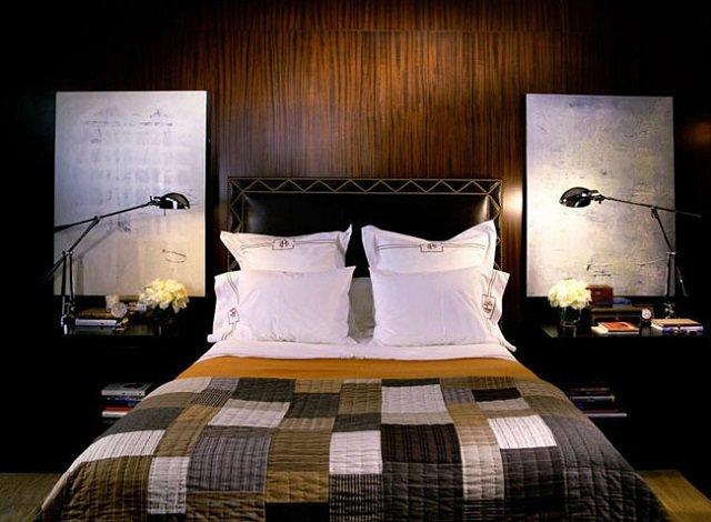 вариант интерьера спальни в темных тонах