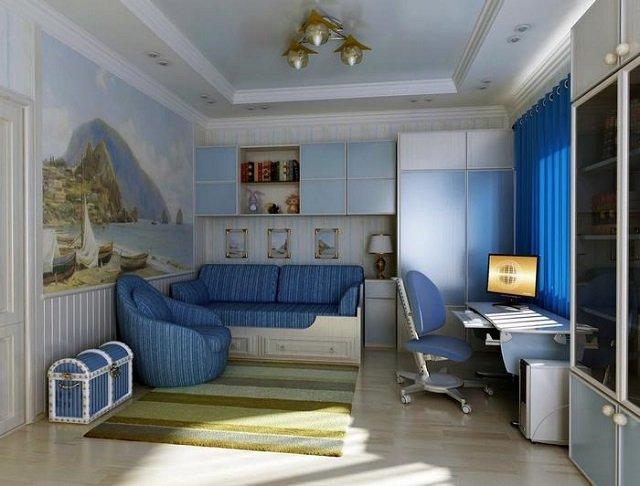 выполнить интерьер детской спальни для мальчика