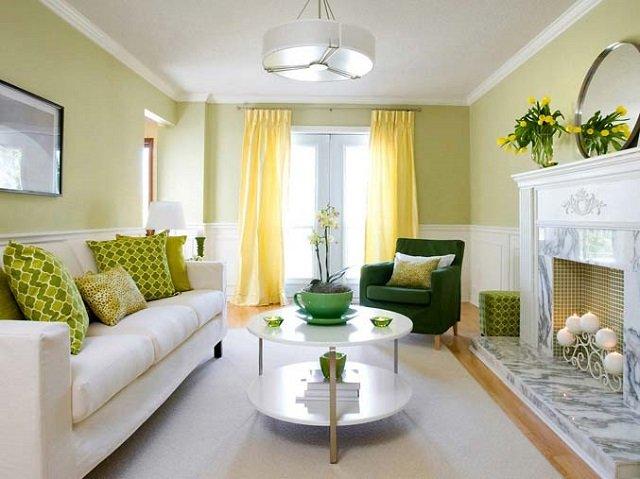 зеленые тона в гостиной