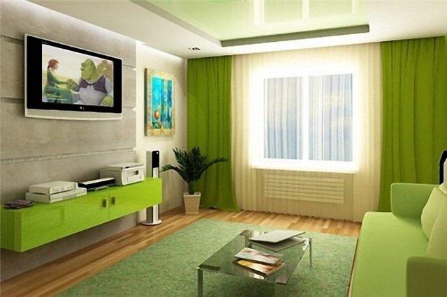 зеленый интерьер в гостиной