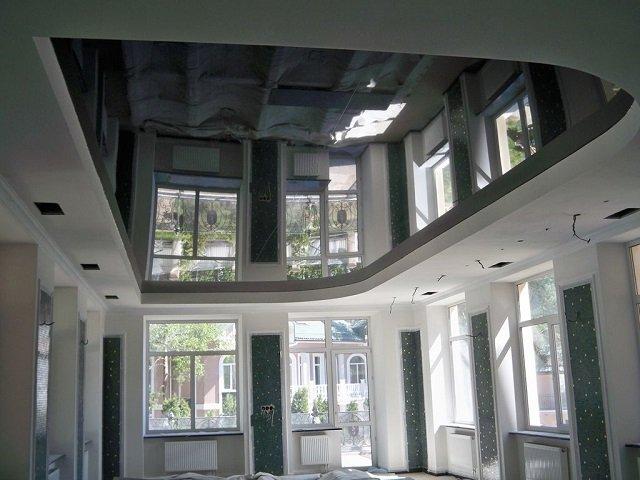выбрать глянцевые черные натяжные потолки
