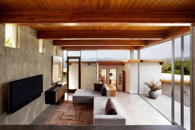 изысканный дизайн деревянного потолка