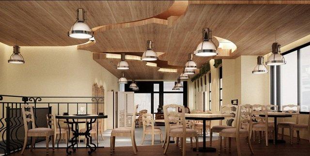 креативный дизайн деревянного потолка в интерьере комнаты