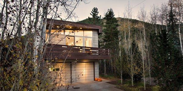 современная резиденция сливающаяся с окружающими горами и лесом
