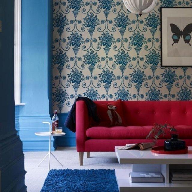 дизайн интерьера с синими обоями