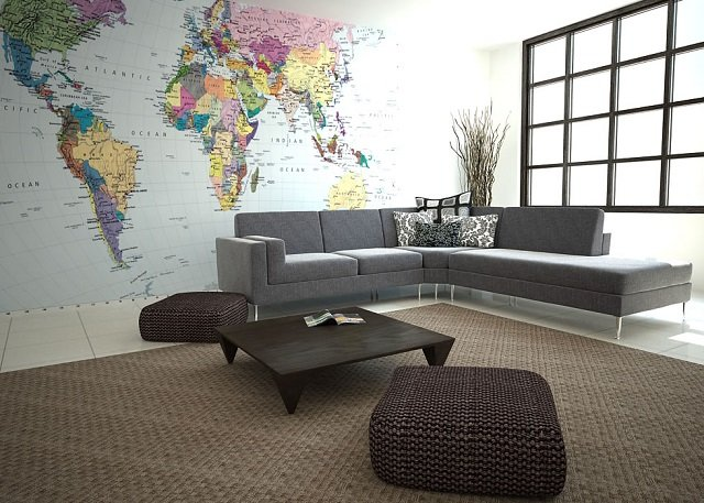 фотообои карта мира в интерьере вашей комнаты