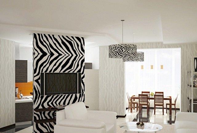 обои зебра в интерьере дома