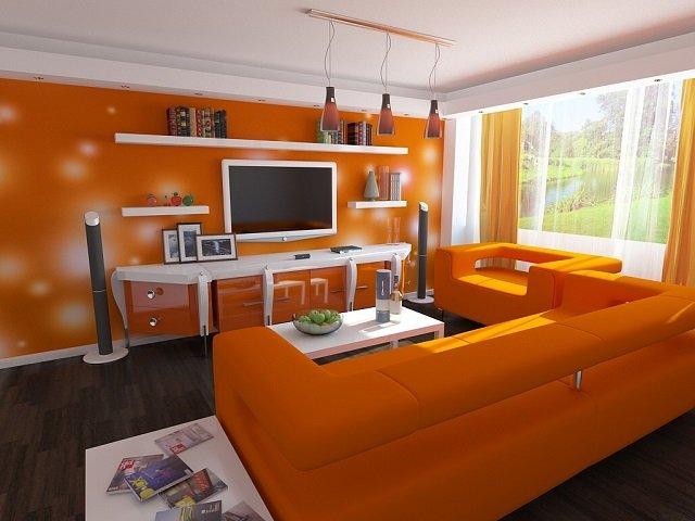 оранжевые обои в вашей комнате